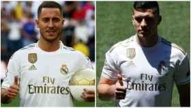 Hazard y Jovic durante sus presentaciones con el Real Madrid.