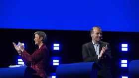 Vestager y Weber, durante el debate de candidatos a presidir la Comisión Europea.