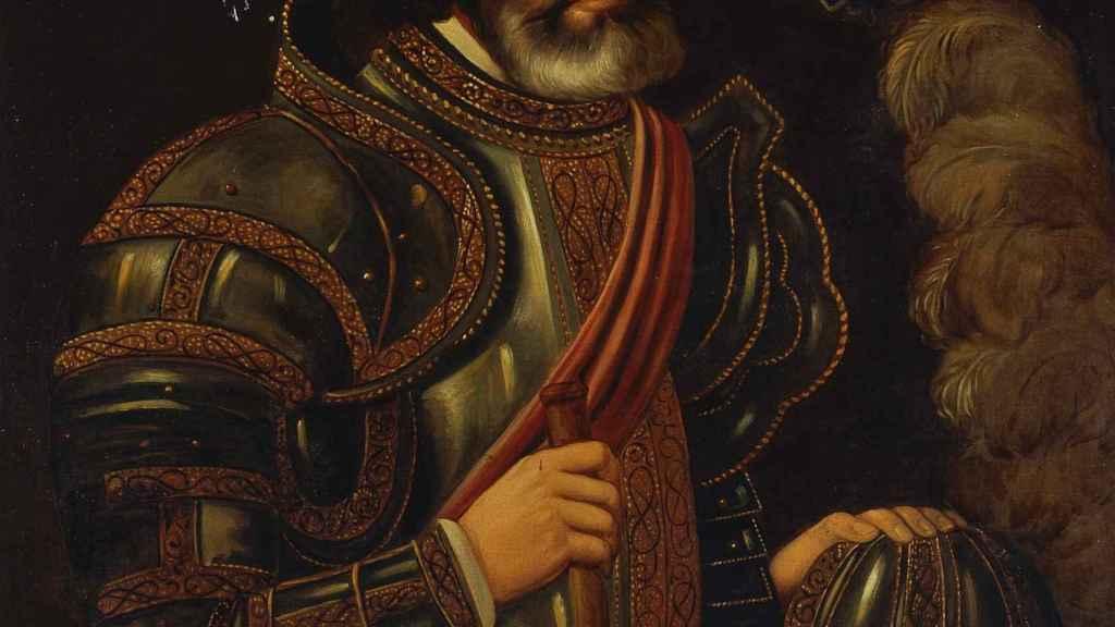 Copia del retrato original de Hernán Cortés pintado por José Salomé Pina.