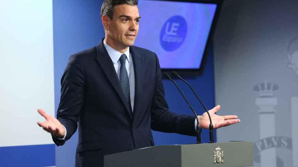 Pedro Sánchez, este viernes en una comparecencia ante la prensa en Bruselas