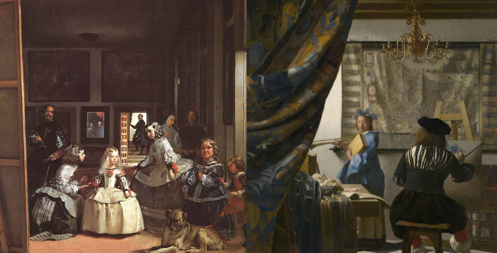 A la izquierda, 'Las Mininas de Velázquez' (Velázquez) y a la derecha, 'Alegoría de la pintura' (Vermeer)