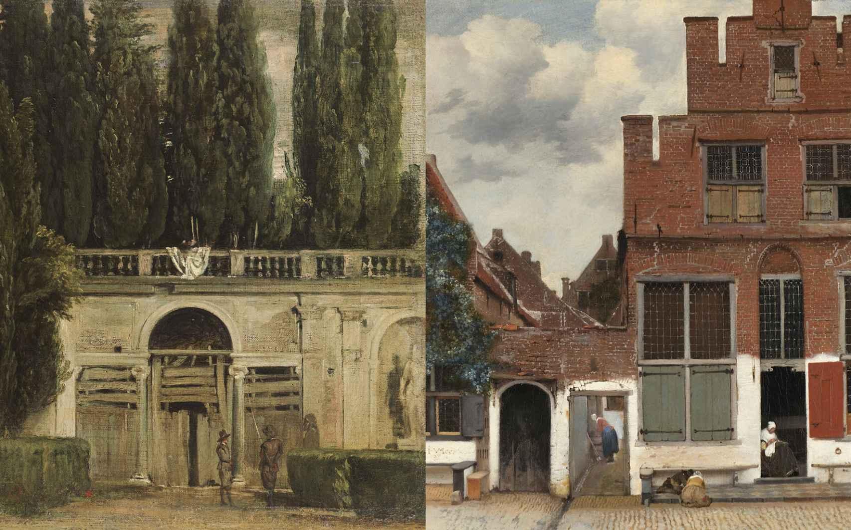A la izquierda, 'Vista del jardín de la Villa Medici en Roma' (Velázquez) y a la derecha, 'Vista de casas en Delft' (Vermeer).