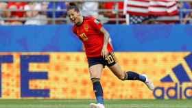 Jenni Hermoso, celebra el primer gol de España ante EEUU