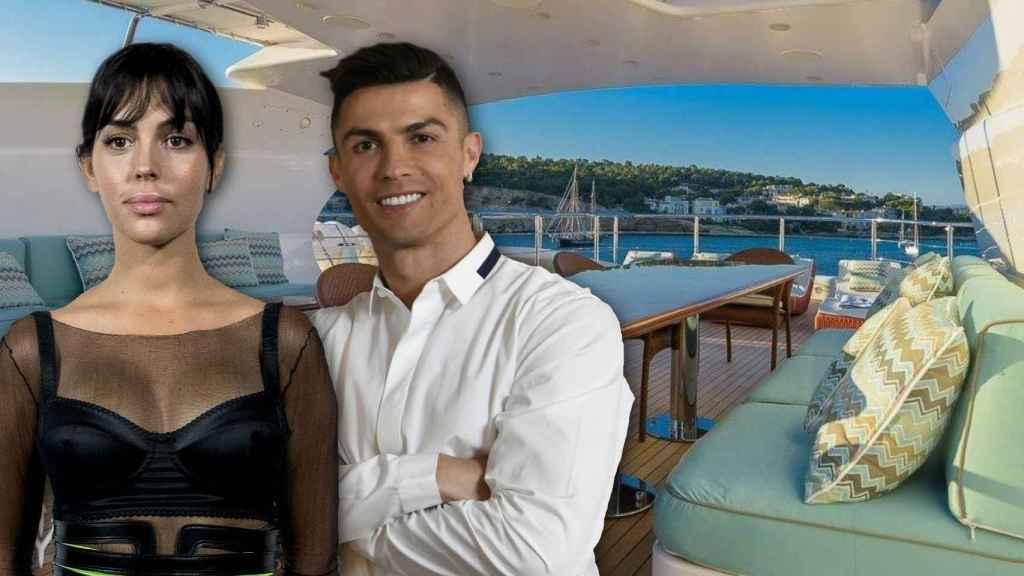 Cristiano Ronaldo y Georgina Rodríguez en un montaje frente al yate.