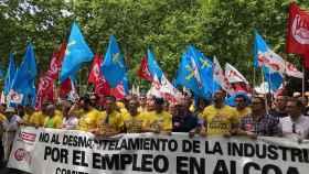 Los trabajadores de la planta de Alcoa en Avilés manifestándose.