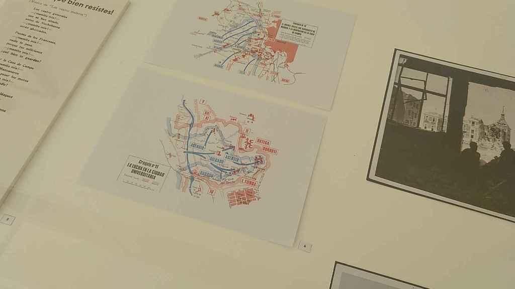 Uno de los paneles de la exposición que detalla las operaciones militares durante la batalla de Madrid.