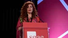 Pilar Jurado, presidenta de la SGAE, durante la asamblea general.