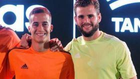Lucas Vázquez y Nacho, en un acto publicitario
