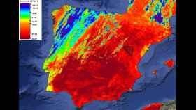 Situación aproximada del 'triangulo del hielo' en la imagen térmica del satélite Copernicus.