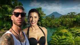 Sergio Ramos y Pilar Rubio en un montaje frente al hotel donde se hospedan en Costa Rica.