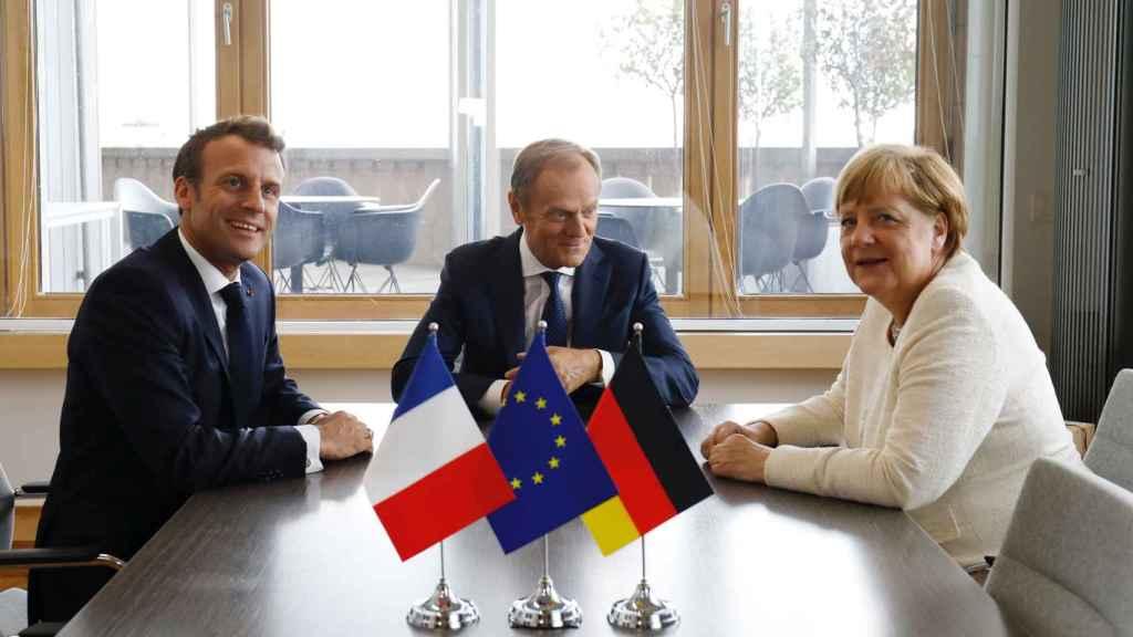 Macron, Tusk y Merkel, durante una de sus últimas reuniones en Bruselas