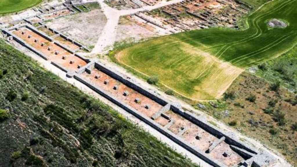 El yacimiento de la ciudad visigoda de Recópolis, vista desde una toma aérea.