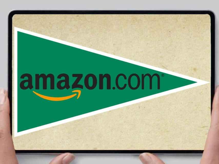 Fotomontaje de los logotipos de El Corte Inglés y Amazon.