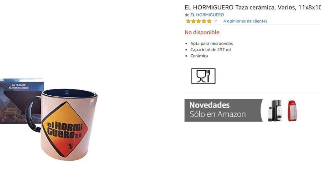 Taza de 'El Hormiguero' agotada en Amazon.