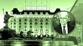 El presidente de Fomento del Trabajo Nacional, Josep Sánchez Llibre, y el hotel Palace de Madrid.
