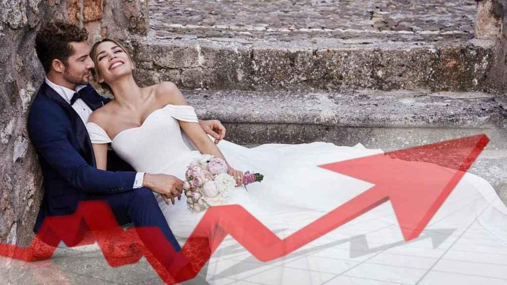 David Bisbal y Rosanna Zanetti, el día de su boda el 2 de julio de 2018.
