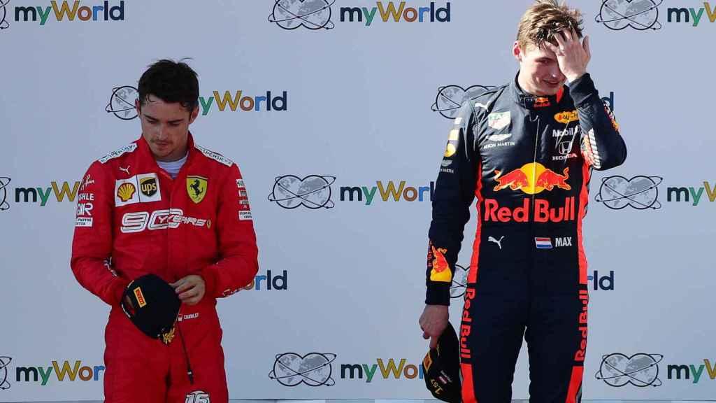 Leclerc y Verstappen, tras acabar el GP de Austria