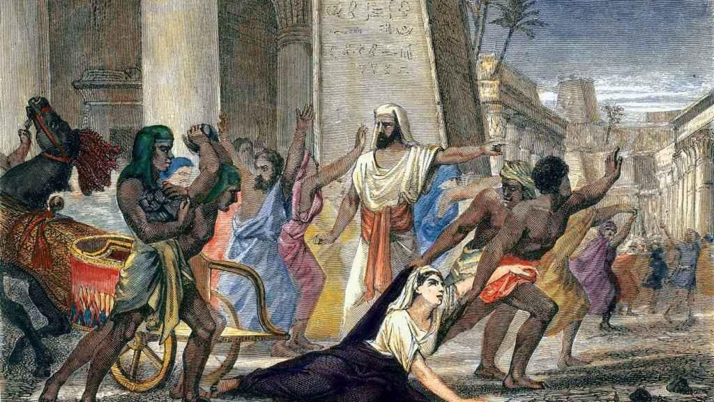 Un grabado en el que se relata el asesinato de Hipatia.