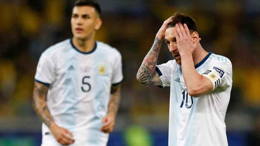 Messi durante el partido de semifinales de la Copa América contra Brasil.