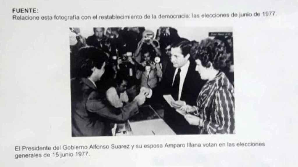 El examen, donde aparece 'Alfonso Suárez' en vez de Adolfo Suárez.