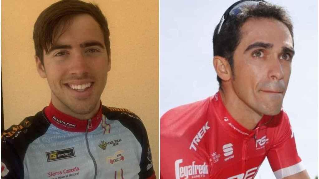 Alberto Contador y Ade, su primo, con quien comparte su afición por las bicis.