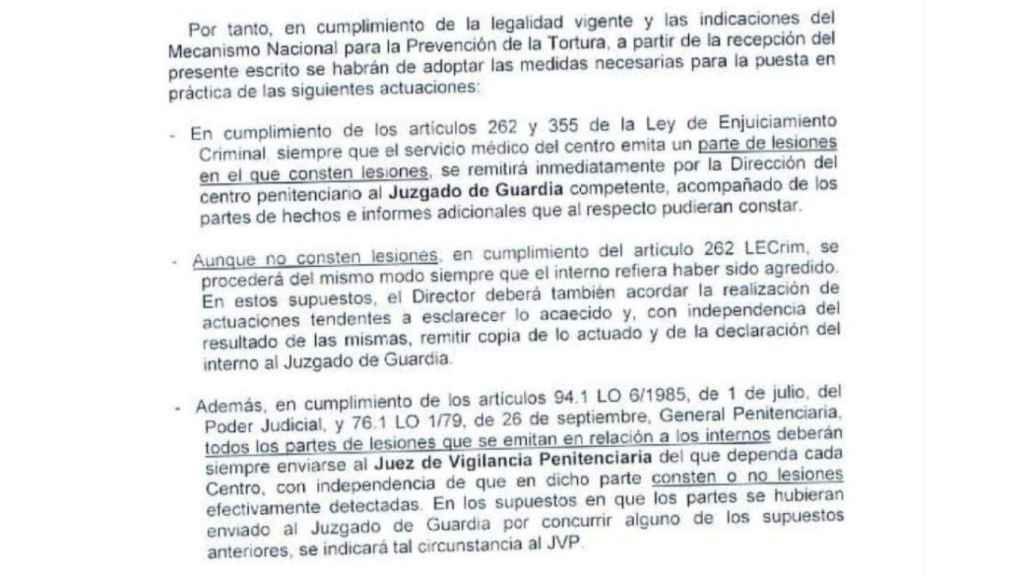 Extracto de la orden enviada a los directores de los centros penitenciarios.