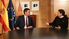 Pedro Sánchez y Pablo Iglesias en la tercera de sus reuniones de cara a la investidura.