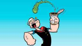 Popeye tomándose uno de sus botes de espinacas.