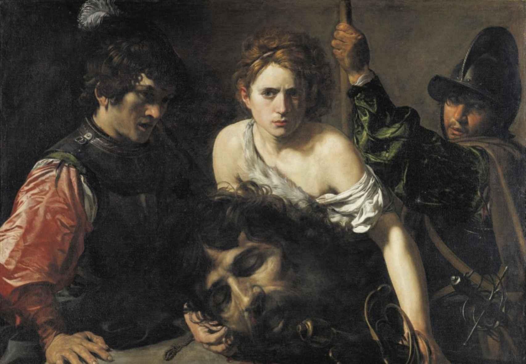 David con la cabeza de Goliat y dos soldados (1620).