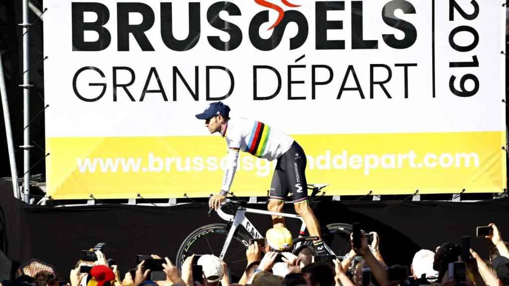 Alejandro Valverde durante la presentación del Tour de Francia 2019