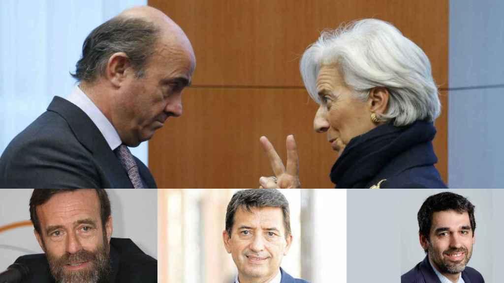 Christine Lagarde y Luis de Guindos. Los economistas Guillermo de la Dehesa, Rafael Doménech y Rubén Segura-Cayuela.