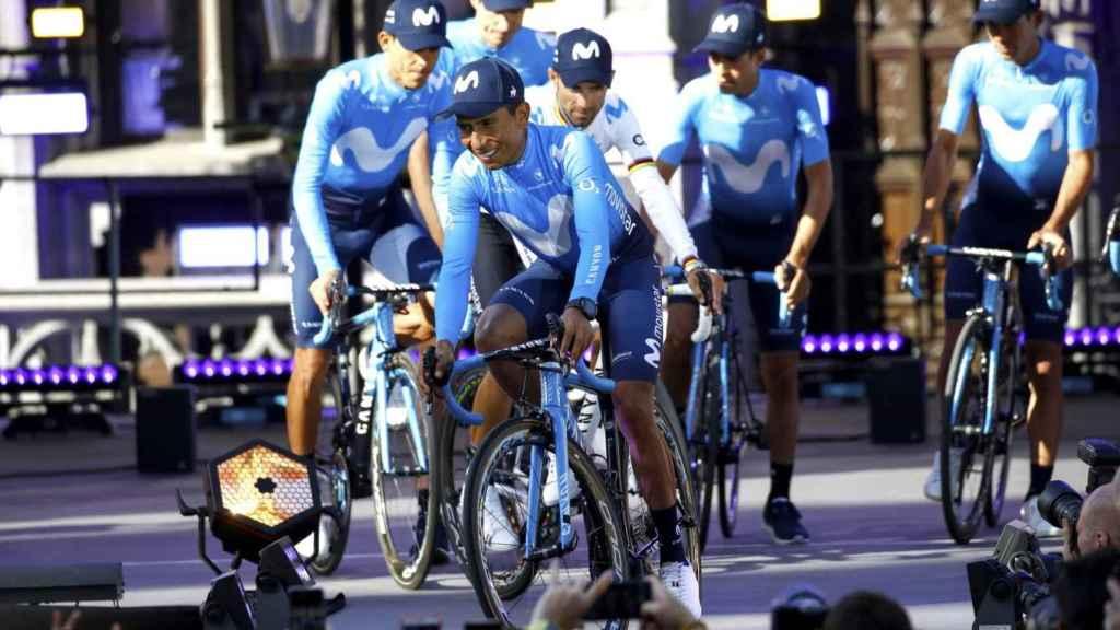 Nairo Quintana, Alejandro Valverde y el resto del equipo Movistar en el Tour 2019