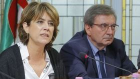 La ministra de Justicia, Dolores Delgado, junto a Fernando Martínez, exdirector general de Memoria Histórica.