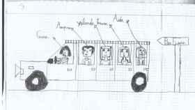 Dibujos que realizaban las niñas al dictado de su padre, Reinaldo Colás
