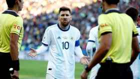 Leo Messi en el partido frente a Chile de la Copa América 2019.
