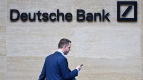 Ejecutivo en la sede de Deutsche Bank.