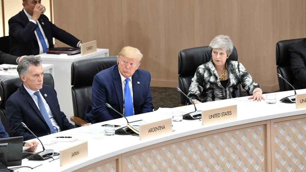 El presidente Donald Trump y la primera ministra Theresa May en la cumbre del G20 en Osaka