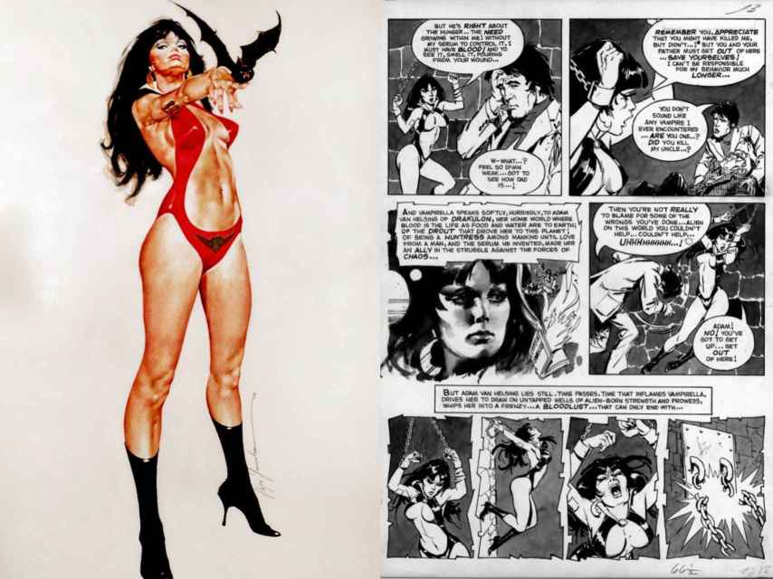 Una ilustración clásica de Vampirella y mi madre, en la tercera viñeta de la página izquierda.