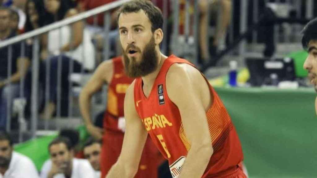 Sergio Rodríguez con la seleccion española de baloncesto