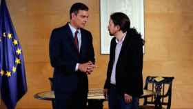 Pedro Sánchez, este martes durante su reunión con Pablo Iglesias.