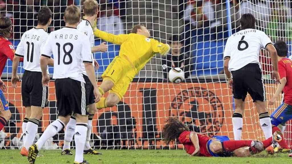 Puyol tras marcar el gol de la victoria para España ante Alemania.