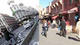 Gran Vía de Madrid frente a la Medina de Marrakech