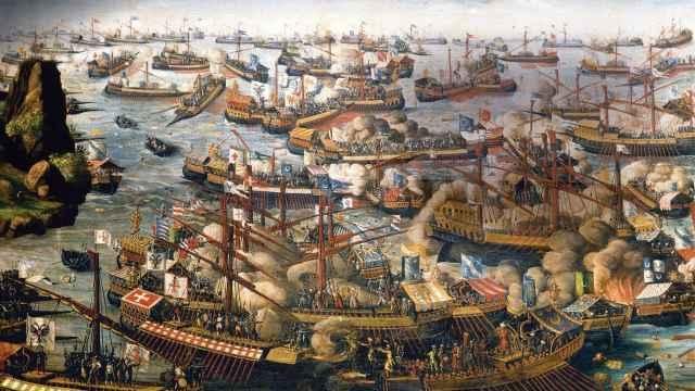 Representación pictórica de la batalla de Lepanto.