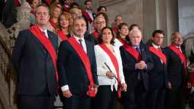 Ada Colau (Podemos) junto a Jaume Collboni (PSC) y Ernest Maragall (ERC).