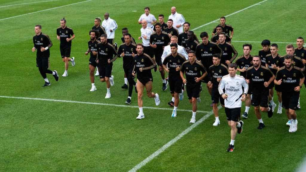 Los jugadores del Real Madrid durante un entrenamiento de pretemporada en Montreal.