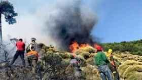Medios aéreos y terrestres trabajan en un fuego en Sotillo de la Adrada (Ávila).