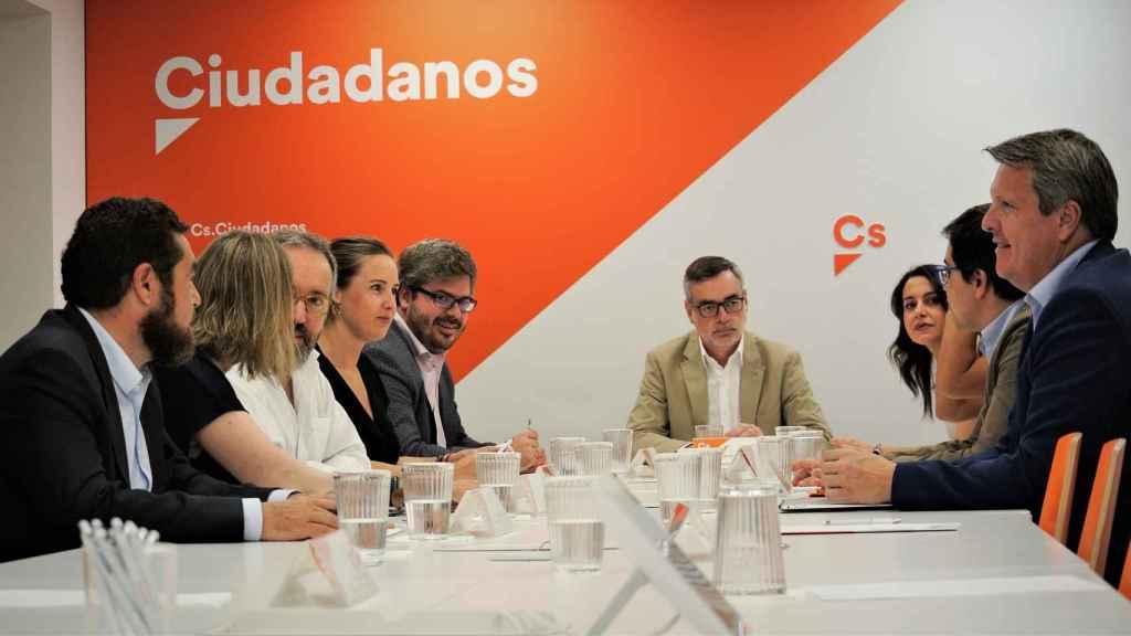 La Ejecutiva permanente de Ciudadanos presidida por José Manuel Villegas en ausencia de Albert Rivera.