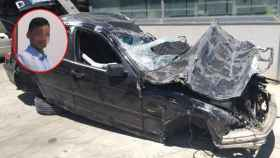 Así quedó el BMW del hombre tras el accidente.