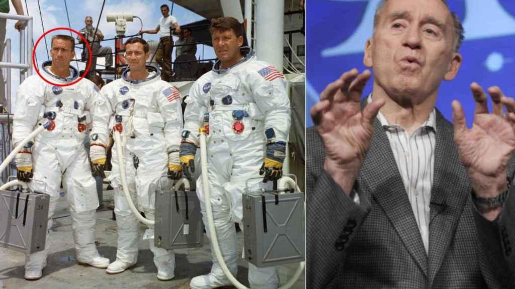 Walt Cunningham en 1968 y en 2009. NASA.