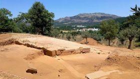 Entrada al anfiteatro hallado en la ciudad romana de Ammaia.